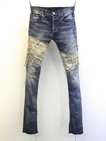 "FAGASSENT ""VINE"" Cotton patch on both side stone crush blue denim"