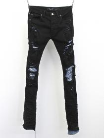 "FAGASSENT ""MEISA"" Art crushed Noir denim with stone washed blue crush denim inse"