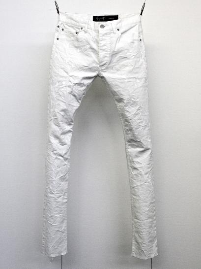 "FAGASSENT ""JESUS white""  Brushed wrinkled coating & splash painted white denim"
