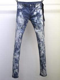 "青激-SEIGEKI- ""17"" 12oz original stretch denim splatter indigo bleach"