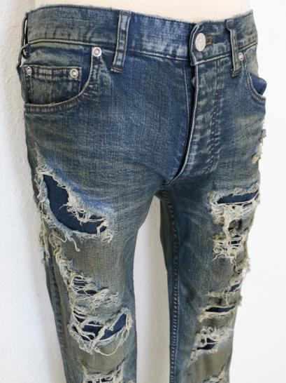 "FAGASSENT ""WATER"" summer indigo art crush with indigo repaired skinny denim"