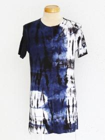 "FAGASSENT ""TA2S-argo"" Blue & black mixed tye-dye short sleeve on center front..."