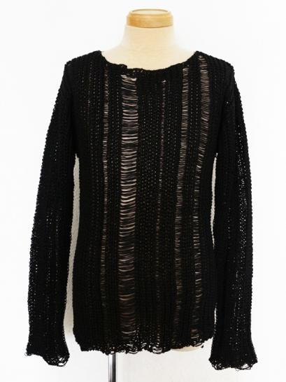 "FAGASSENT ""KT1"" Black long sleeve linen abstract rough construction knit"