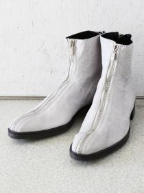 "FAGASSENT ""SPLIT ivory"" ivory shrink leather 3.5cm heel Front zip boots"