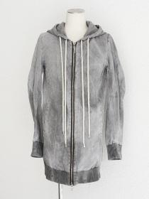 "FAGASSENT ""FPLF muddy""  Wetty soiled grey dyed linen hood parka with double"