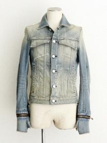 "FAGASSENT ""GJK blue"" Blue distressed denim jacket with side Zip & gloves"