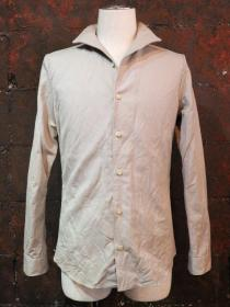 VADEL cotton/linen canvas winding italy wing collar shirts / sand
