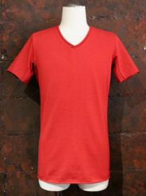 "VADEL tight jersey draping V-neck S/S ""bleed"" / red"