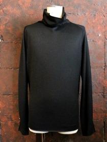 VADEL wool jersey draping irregular long neck / black