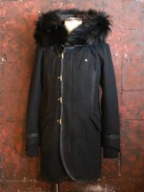 CRUCE&Co. Angora Wool Light Melton / Raccoon Fur Coat / BLACK