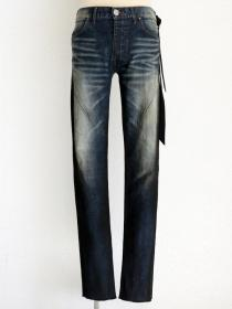 "青激-SEIGEKI- ""16"" 12oz original stretch denim indigo stone wash & black spray"