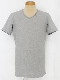 VADEL tight jersey draping V-neck S/S / gray