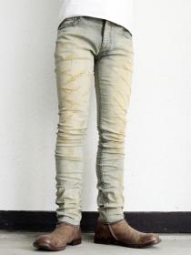 "FAGASSENT ""RIPPER17"" dusty indigo with rippered all the way skinny denim"