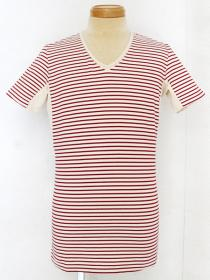 VADEL tight jersey border draping V-neck S/S / natural+red