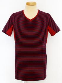 VADEL tight jersey border draping V-neck S/S / navy-red