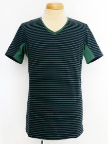 VADEL tight jersey border draping V-neck S/S / navy-green