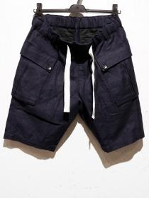 VADEL cotton/linen karsey M-44 innovated field trousers shorts / navy