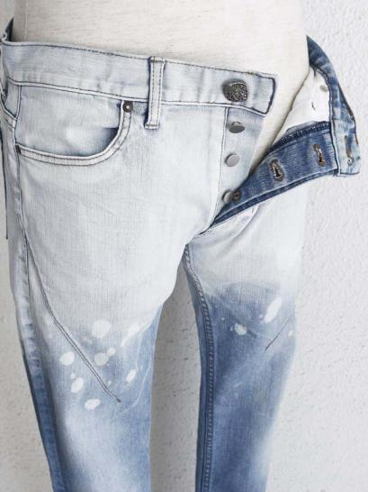 "青激-SEIGEKI- ""1"" 12oz original stretch denim HALF BLEACHED AROUND WAIST BLUE WASH"