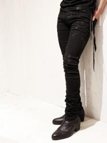 "青激-SEIGEKI- ""N"" 12oz original stretch denim splattering pigment on black"
