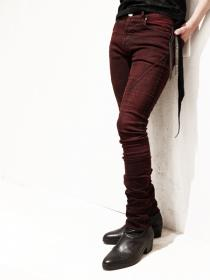 "青激-SEIGEKI- ""OBR"" 12oz original stretch denim wine red distressed dyed"