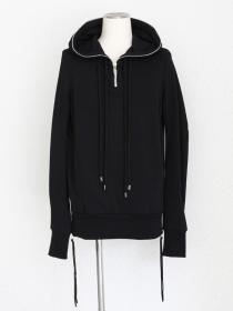 "FAGASSENT ""FPN black"" Hoody's zipped closed-style black sweater with cut-off"