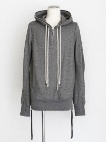 "FAGASSENT ""FPN grey"" Hoody's zipped closed-style grey sweater with cut-off"