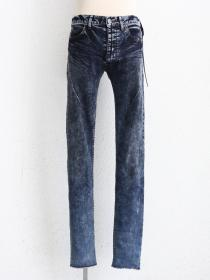 "青激-SEIGEKI- ""BLEU"" Blue stoned washed denim with wrinkles"
