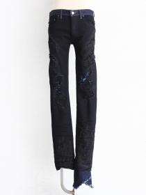 "FAGASSENT ""MEISA black"" Black based Double layer in blue & black crushed denim"