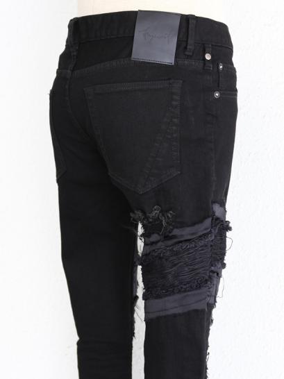 "FAGASSENT ""EAGLE"" Black crushed denim with Crawling Black cupra & Sagging Kimono"