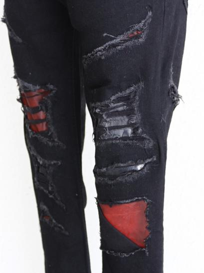"FAGASSENT ""SCORPION"" Rouge leather & Ostrich leg leather Mixed internal patch..."