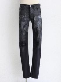 "FAGASSENT ""ANASTASIA""Asymmetric leather distressed coating with knee crush black"