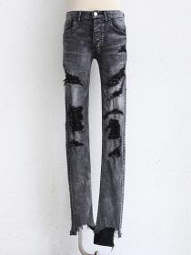 "FAGASSENT "" GOZILLA""Grey stoned bleached scar-crushed denim with silver kimono"