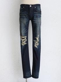 "FAGASSENT ""ARIZONA blue""Stoned wasehd knee-crush with Wrinkle soft cow leaher st"