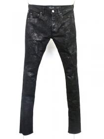 "FAGASSENT ""JESUS"" Wrinkle effect coating stretch black denim."