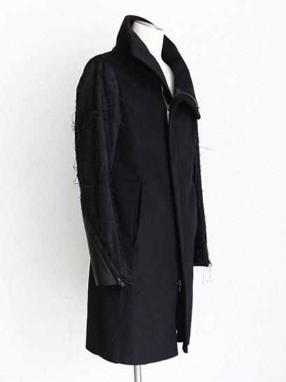 "FAGASSENT ""LOG1"" Shrink leather inserted KIMONO jacquard sleeve with cashmere"