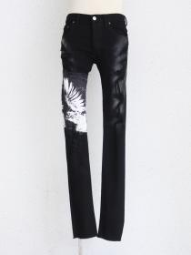 "FAGASSENT ""BLACK SWAN"" Crushed Crystal coated black denim with crawling Claw"