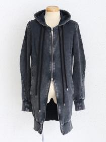 "FAGASSENT ""FPL-grey""Grey bleached Double thread Zipped Long hood parka."