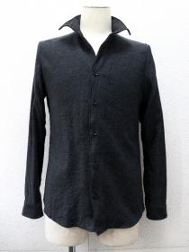 VADEL cotton&wool twill wire shark collar shirts L/S / black