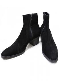 "FAGASSENT ""BULLET"" Black nuback 6.5cm height heel twisted seaming boots"