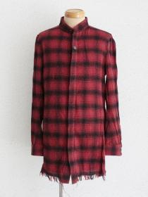 "FAGASSENT ""20AW-SH8-red viella"" Red Flannel shirt on stone washed & cut-off effe"