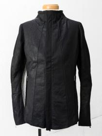 "FAGASSENT ""LSH1"" Black wrinkled leather seaming jacket"