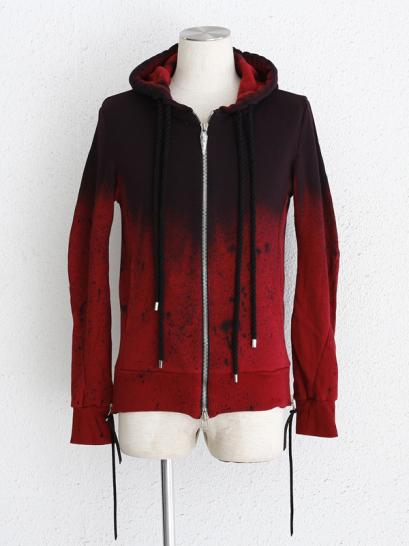 "FAGASSENT ""FP whine"" Rouge splatter dyed sweat parka with double coiled thread."