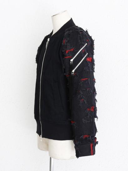 "FAGASSENT ""MA1 whine"" Double side Zipper MA1 with Embroidered crush bonding..."