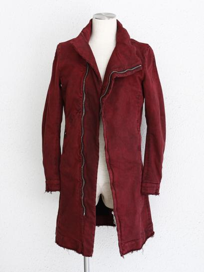 "FAGASSENT ""JADED whine"" Byass stand collar denim coat with burgandy visual dyed"