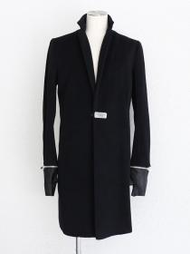 "FAGASSENT ""CF2 black""Cashmere black wool classic chester field coat with black.."