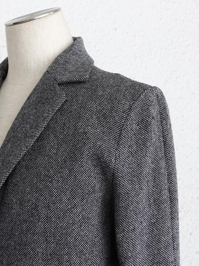 "FAGASSENT ""CF2 grey""wool tweed classic chester field coat with black wrinkle..."