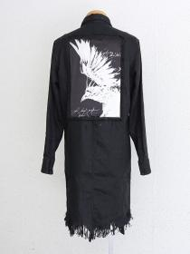 "【別注】FAGASSENT ""SH6-sp"" Black linen Long shirt with Black Claw print"