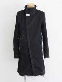 "FAGASSENT ""JADED2-black shave"" Black stone washed denim coat."