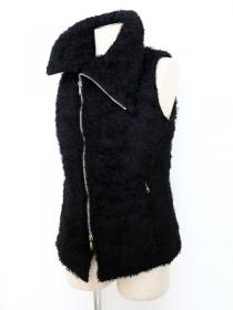 rewords/rewordsdesign  Highcount Hairy Cut Funnel Neck Airpack Vest / BLACK