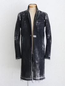 "FAGASSENT ""CF2-silver foi""Black shaved denim chester-field coat with Silver-foil"